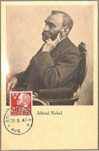 90116  - SWEDEN - Postal History - MAXIMUM CARD -  ALFRED NOBEL Chemistry 1947
