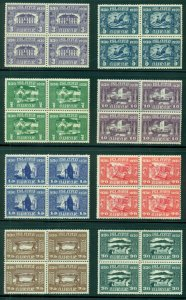 ICELAND #152-66, C3, Complete 1930 Parliament set in Blocks of 4 + C3 strip NH