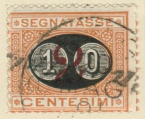 Italy 1890-91 10c on 2c Very Fine Used A13P4F60