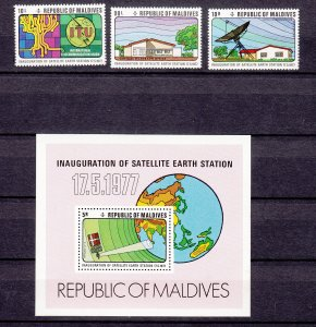 Z2305 1977 maldive islands set mnh + s/s #678-81 ITU