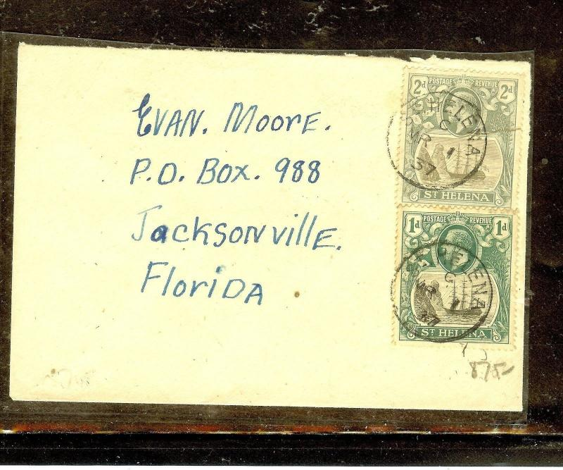 ST HELENA (P0210B) KGV 2D+1D ON 1937 COVER TO USA