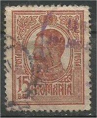 ROMANIA, 1909, used 15b, Prince Carol I, Scott 221