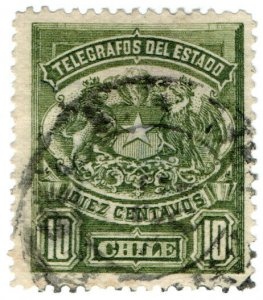 (I.B) Chile Telegraphs : 10c Green (small format)
