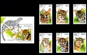 BENIN - 1996 - WILD CATS - LYNX - SERVAL - OCELOT + 6 X CTO - NH SET + S/SHEET!