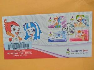 SINGAPORE 2010 U/ADDRESSED REGISTERED FDC- SINGAPORE YOUTH OLYMPIC GAMES