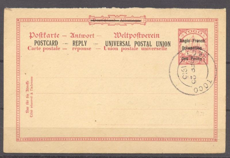 Togo, 1915 British Occupation, Reply Card 1 d used (reply half only), RARE !!!