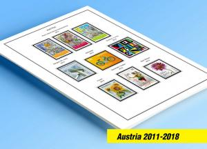 COLOR PRINTED AUSTRIA 2011-2018 STAMP ALBUM PAGES (76 illustrated pages)