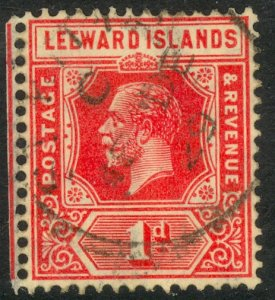 LEEWARD ISLANDS 1921-32 KGV 1d Carmine Portrait Issue Sc 63 VFU