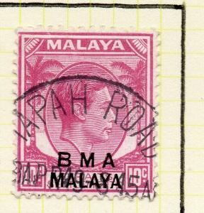 Malaya Straights Settlements 1945 Early Shade of Used 10c. BMA Optd 307995
