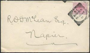 NEW ZEALAND 1895 QV 1d on cover NAPIER squared circle code 11..............42960