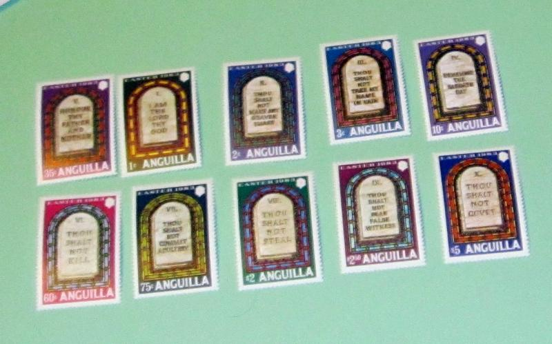 Anguilla - 526-35, MNH Set. Ten Commandments. SCV - $15.15
