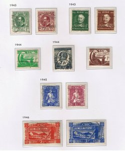 Ireland #124-193 VF used  1943-63 complete  Various Scenes