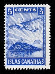 SPAIN SPANISH CIVIL WAR 1937 LOCAL STAMP 5¢ CANARY ISLANDS MNH-OG