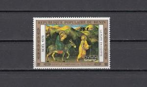 Benin, Scott cat. C321. 1976 Religious Christmas, SURCHARGED issue.