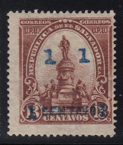 El Salvador 1905-06 1c on 13c Red Brown with Blue Surcharge VLM Mint. Scott 316