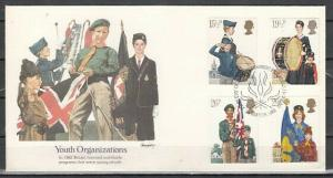 Great Britain, Scott cat. 983-986. Scouts & Youth Org`s. First day cover. ^
