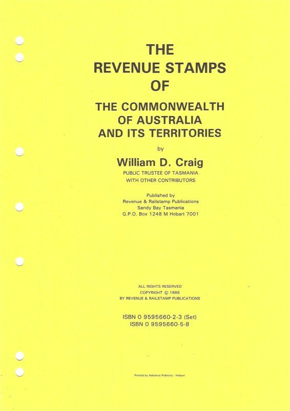 Priced Catalogue REVENUE STAMPS OF THE COMMONWEALTH OF AUSTRALIA & TERRITORIES