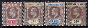 LEEWARD ISLANDS 1902 KEVII 1D 2D 21/2D 3D WMK CROWN CA