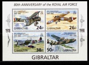 GIBRALTAR QEII SG MS833, 1998 anniv of royal air force mini sheet, NH MINT.