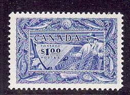 Canada-Sc#302- id5-Unused  hinge-$1.00 bright ultramarine-Fisherman-og-1951-