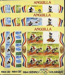 Anguilla 559a-67a MNH Sheets - Disney, Sports, Olympics
