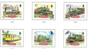 Jersey Sc 1373-8 2009 Railway Steam Engines stamp set used