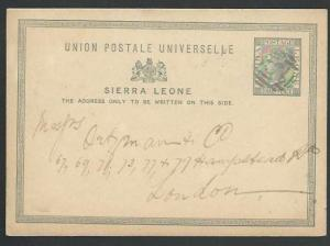 SIERRA LEONE 1889 1½d postcard commercially used to London.................56998