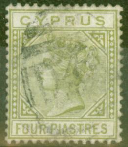Cyprus 1881 4pi Pale-Olive Green SG14 CC Die I Fine Used