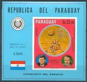 Paraguay space 1970 Mi Block-137 Apollo 11 Kennedy & Braun