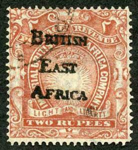 British East Africa 2r with Fake British East Africa overprint