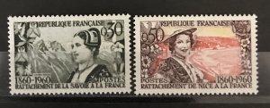 France 1960 #957-8, MNH, CV $1