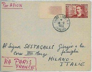 24189 - AOF SENEGAL -  POSTAL HISTORY -  FIRST FLIGHT Cover: DAKAR - PARIS 1953