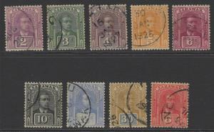 SARAWAK SG63/71 1922-3 NEW COLOURS & VALUES SET FINE USED