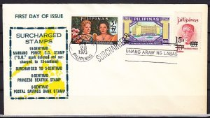 Philippines, Scott cat. 1188-1190. Surcharged values. Orchid. First day cover. ^