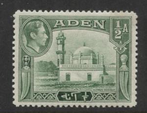 ADEN - Scott 16 - Aidrus Mosque - 1939-  MLH - Single 1/2a Stamp