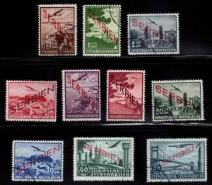 Serbia WW2 German Occcupation Airmail set Scott 2NC1-10 CV $3,125