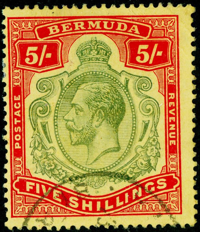 BERMUDA SG53, 5s deep green & deep red/yellow, FINE USED, CDS. Cat £140.
