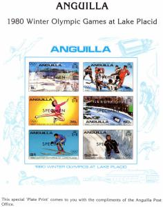 Anguilla 1980 Sc#375/380 WINTER OLYMPIC GAMES LAKE PLACID PLATE PRINT SPECIMEN