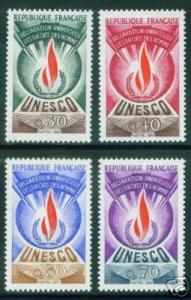 FRANCE Scott 2o9-12 MNH** 1969-1971 UNESCO set CV$6.55