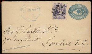 Guatemala 1895 Zacapa Livingston London UK New Orleans Cover 92805