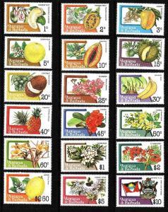 Antigua-Sc#708-25-unused NH set-definitives-Flowers-Fruits-1