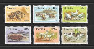 BIRD, CRAB, TURTLE - TOKELAU #132-7  MNH