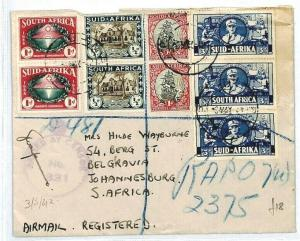 SOUTH AFRICA FORCES APO REGISTERED Cover CENSOR 1942 WW2 {samwells} CW227