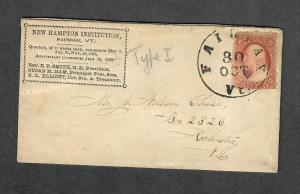 US Sc#25 Fairfax VT College Cover Oct 30 Repaired Back Flap