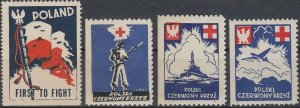 Stamp Label Poland WWII Poster Cinderella Red Cross Czerwony Airplane Ship MNH