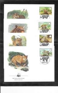 JAGUAR - BELIZE #689-92  WWF ISSUE FDC