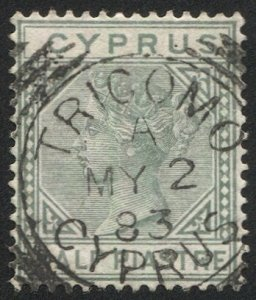 CYPRUS 1882 Sc 19a, Used VF 1/2pi QV, Scarce TRICOMO 1883 postmark cancel