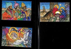 Zambia Scott 586-588 MNH** 1992 Christmas stamps