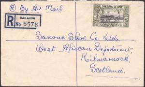 SIERRA LEONE 1951 Registered cover KAILAHUN to Scotland....................67614