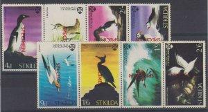 SCOTLAND SAINT KILDA 1960 BIRDS & PENGUINS 4d thru 5 Sch TWO STRIPSx4 SPECIMEN